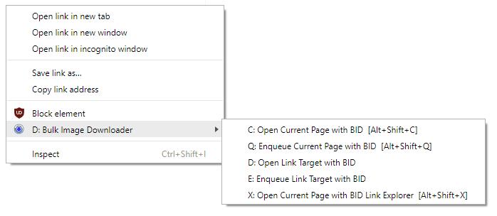 BID Chrome context menu
